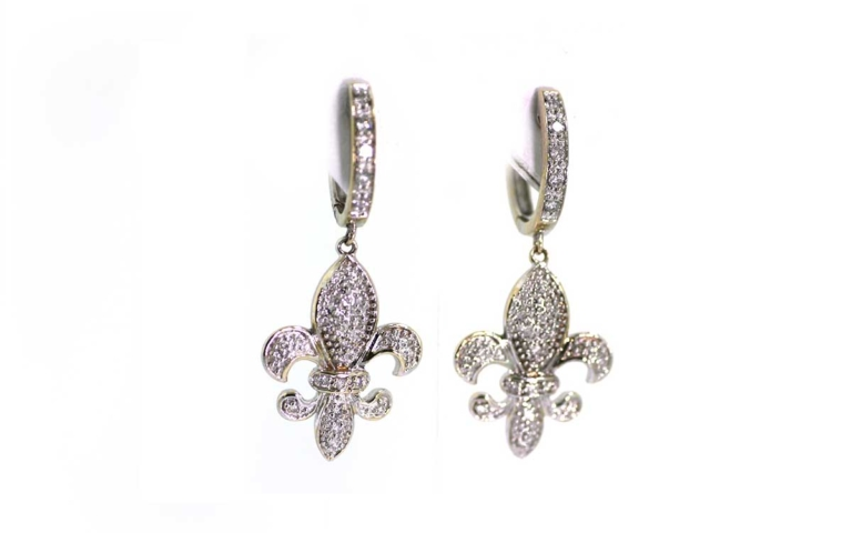 Back To All Jewelry White Gold And Diamond Fleur De Lis Earrings