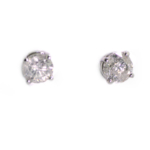 3.03 Carat Diamond and White Gold Stud Earrings