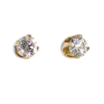 1.00 Carat Diamond and Yellow Gold Stud Earrings