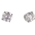 4.28 Carat Diamond and White Gold Stud Earrings