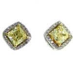 3.06 Carat Cushion Cut Yellow Diamond Earrings